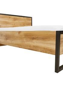 Letto matrimoniale in legno e metallo Detroit, Struttura: pannello di fibra a media, Plancia quercia, 160 x 200 cm