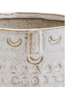 Kleiner Übertopf Face aus Steingut, Steingut, Weiß, Beige, Ø 12 x H 9 cm