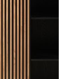 Design-Highboard Linea mit Schiebetür und Eichenholzfurnier, Korpus: Mitteldichte Holzfaserpla, Füße: Metall, lackiert, Schwarz, Eichenholz, 98 x 135 cm