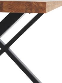 Table en bois massif Montpellier, Bois de chêne, noir, mat