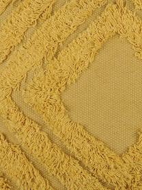 Gelbes Kissen Mona mit getufteter Verzierung, mit Inlett, Bezug: 100% Baumwolle, Senfgelb, 40 x 40 cm