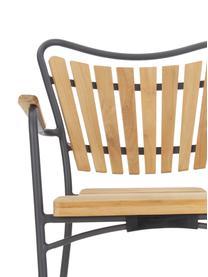 Outdoor armstoel Hard & Ellen van hout, Frame: gepoedercoat aluminium, Antraciet, teakhoutkleurig, 56 x 78 cm
