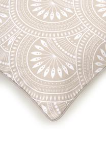Federa arredo reversibile fantasia in cotone biologico color taupe Tiara, 100% cotone biologico, certificato GOTS, Beige, bianco, Larg. 45 x Lung. 45 cm
