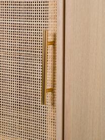 Wysoka komoda z drewna Cayetana, Korpus: płyta pilśniowa średniej , Nogi: drewno bambusowe, lakiero, Brązowy, S 37 x W 140 cm