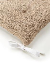 Jute-Sitzkissen Justina, Vorderseite: 100% Jute, Rückseite: 100% Baumwolle, Beige,Weiß, 40 x 40 cm