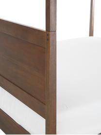Houten hemelbed Retreat, Mangohout met teakhout-, mahoniehout, en mindihoutfineer, Bruintinten, 180 x 200 cm