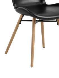 Sedia imbottita in similpelle nera Batilda 2 pz, Rivestimento: similpelle (poliuretano), Gambe: legno di quercia oliato, Nero, Larg. 56 x Prof. 47 cm