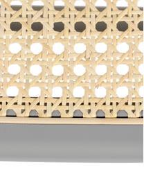 Weißer Barstuhl Jort mit Wiener Geflecht, Sitzfläche: Rattan, Rahmen: Birkenholz, massiv, lacki, Beine: Stahl, pulverbeschichtet, Weiß, 47 x 106 cm
