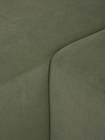 Divano angolare a 4 posti in tessuto a coste verde Melva, Rivestimento: velluto a coste (92% poli, Struttura: legno di pino massiccio, , Piedini: plastica, Velluto a coste verde, Larg. 319 x Prof. 196 cm