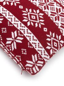 Federa arredo fatta a maglia fine con motivo invernale Frosty, 100% cotone, Rosso scuro, bianco crema, Larg. 30 x Lung. 50 cm