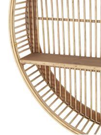 Rundes Bambus-Wandregal Bentra, Rahmen: Bambus, Rattan, Dunkles Beige, Ø 60 x T 12 cm