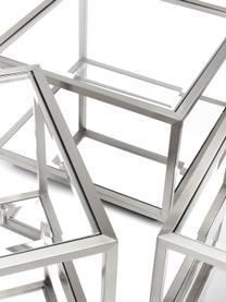 Couchtisch-Set Luigi mit Spiegel-Böden, 4-tlg., Gestell: Edelstahl, poliert, Böden: Spiegelglas, Füße: Mitteldichte Faserplatte,, Silberfarben, Set mit verschiedenen Größen