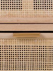 Ladekast Cayetana van hout, Frame: MDF, fineer, Handvatten: metaal, Poten: bamboehout, gelakt, Bruin, 80 x 81 cm