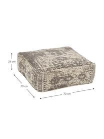 Poduszka podłogowa w stylu vintage Rebel, Tapicerka: 95% bawełna, 5% poliester, Ciemnyszary, kremowy, S 70 x W 26 cm