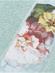 Handdoek Fleur in verschillende formaten, met bloemenrand, 97% katoen 3% polyester, Mintgroen, multicolour, Gastendoekje