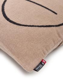 Baumwoll-Kissenhülle Nova Punkt mit abstraktem Print, Bezug: 85% Baumwolle, 8% Viskose, Braun, Schwarz, 50 x 50 cm