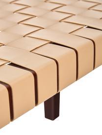 Kunstleder-Sitzbank Akina in Beige, Sitzfläche: Kunstleder (100% Polyuret, Gestell: Massives Akazienholz, lac, Beige, 110 x 46 cm