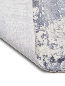 Alfombra con flecos Cordoba, estilo vintage, Parte superior: 70%acrílico, 30%viscosa, Reverso: 100%algodón, Azul, gris, An 130 x L 190 cm (Tamaño S)