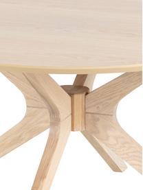 Ronde salontafel Duncan van eikenhout, Tafelblad: eikenhoutfineer, Poten: eikenhout, massief, Eikenhoutkleurig, Ø 80 x H 45 cm