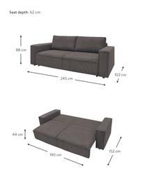 Sofa rozkładana ze sztruksu z miejscem do przechowywania Nihad (3-osobowa), Tapicerka: sztruks poliestrowy, Nogi: tworzywo sztuczne, Brązowy, S 245 x G 102 cm