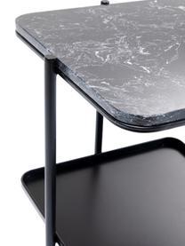Tavolino con piano in marmo Bennet, Struttura: acciaio verniciato, Nero, Larg. 39 x Alt. 45 cm