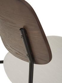 Krzesło z drewna z tapicerowanym siedziskiem Nadja, 2 szt., Tapicerka: poliester Dzięki tkaninie, Tapicerka: pianka, Nogi: metal malowany proszkowo, Kremowobiały, S 51 x G 52 cm