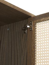 Kleiderschrank Aries in Dunkelbraun, Gestell: Spanplatte mit Eichenholz, Beine: Massives Eichenholz, Wiener Geflecht: Zuckerrohr, Dunkles Holz, 100 x 194 cm