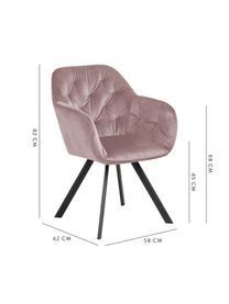 Krzesło obrotowy z aksamitu Lucie, Tapicerka: aksamit poliestrowy Dzięk, Nogi: metal malowany proszkowo, Aksamitny brudny różowy, S 58 x G 62 cm