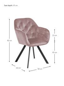 Krzesło z podłokietnikami z aksamitu Lucie, obrotowe, Tapicerka: aksamit poliestrowy Dzięk, Nogi: metal malowany proszkowo, Aksamitny brudny różowy, czarny, S 58 x G 62 cm