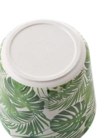 Set scatole Tropical 2 pz, Coperchio: legno di bambù, materiale, Verde, bianco, Ø 11 cm x Alt. 11 cm