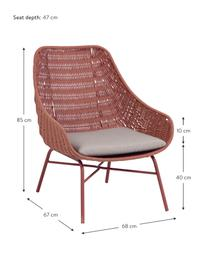 Garten-Loungesessel Abeli, Sitzschale: Seil, gefärbt, Gestell: Metall, verzinkt und lack, Bezug: Stoff, Rosa, B 68 x T 67 cm