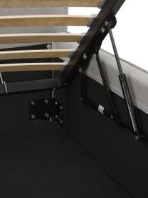 Polsterbett Dream mit Stauraum in Hellgrau, Korpus: Massives Kiefernholz und , Bezug: 100% Polyester (Strukturs, Webstoff Hellgrau, 180 x 200 cm