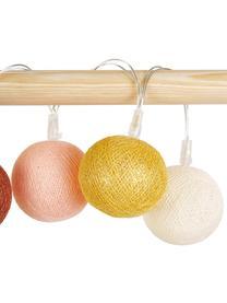 LED-Lichterkette Colorain, 378 cm, 20 Lampions, Creme, Rosa, Gelb, Rostrot, L 378 cm
