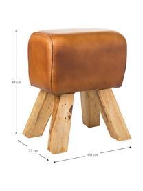 Vintageleder-Hocker Tim, Beine: Massivholz Mango, gebeizt, Bezug: Vintage-Ziegenleder im us, Hellbraun, 40 x 47 cm