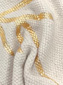 Kissenhülle Karla mit goldenem Muster, 100% Baumwolle, Beige, 40 x 60 cm