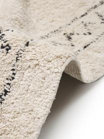 Ręcznie tuftowany dywan z bawełny w stylu boho z frędzlami Frame, 100% bawełna, Beżowy, czarny, S 120 x D 180 cm (Rozmiar S)