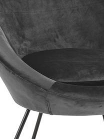 Poltrona in velluto grigio scuro Center, Rivestimento: velluto di poliestere Con, Struttura: metallo verniciato a polv, Velluto grigio scuro, Larg. 82 x Prof. 71 cm