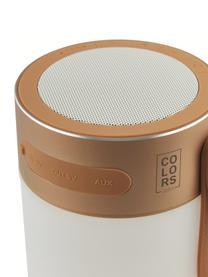 Zewnętrzna mobilna lampa LED z głośnikiem Sound Jar, Odcienie miedzi, biały, Ø 9 x W 14 cm