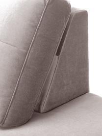 Samt-Ottomane Alva in Taupe mit Buchenholz-Füßen, Bezug: Samt (Hochwertiger Polyes, Gestell: Massives Kiefernholz, Füße: Massives Buchenholz, gebe, Samt Taupe, B 193 x T 94 cm