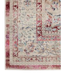 Passatoia con motivo vintage Vintage Kashan, Retro: lattice, Beige, rosso, blu, Larg. 60 x Lung. 185 cm