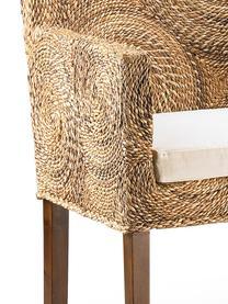 Poltrona in rattan fatta a mano Banana, Seduta: rattan intrecciato, Gambe: legno di mogano, Marrone, bianco, Larg. 56 x Prof. 60 cm