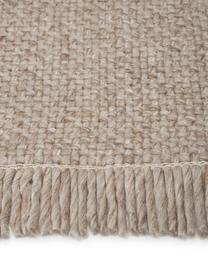 Tappeto in lana color taupe tessuto a mano con frange Alvin, Retro: 100% cotone Nel caso dei , Taupe maculato, Larg. 120 x Lung. 170 cm (taglia S)