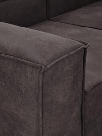 Modulaire chaise longue Lennon in bruingrijs van gerecycled leer, Bekleding: gerecycled leer (70% leer, Frame: massief grenenhout, multi, Poten: kunststof De poten bevind, Leer bruingrijs, B 269 x D 119 cm