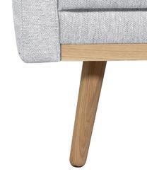 Sofa Saint (3-Sitzer) in Hellgrau mit Eichenholz-Füßen, Bezug: Polyester Der hochwertige, Gestell: Massives Kiefernholz, Spa, Webstoff Hellgrau, 210 x 70 cm