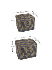Set 2 scatole custodia Ludvig, Solido, cartone laminato, Dorato, blu grigio, Set in varie misure
