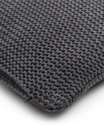 Strick-Kissenhülle Adalyn aus Bio-Baumwolle in Dunkelgrau, 100% Bio-Baumwolle, GOTS-zertifiziert, Dunkelgrau, 50 x 50 cm