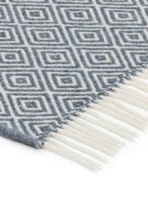 Koc z wełny Alison, 80% wełna merino, 20% nylon, Szaroniebieski, złamana biel, S 140 x D 200 cm