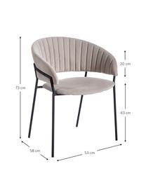 Krzesło tapicerowane z aksamitu Room, Tapicerka: 100% aksamit poliestrowy, Stelaż: metal powlekany, Szary, S 53 x G 58 cm