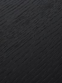 Tavolo con piano in legno nero Mica, Piano d'appoggio: pannello di fibra a media, Struttura: metallo verniciato a polv, Piano d'appoggio: finitura in quercia, nero verniciato Gambe: nero opaco, Larg. 140 x Prof. 90 cm