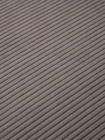 Divano componibile 4 posti in velluto a coste marrone con poggiapiedi Lennon, Rivestimento: velluto a coste (92% poli, Struttura: legno di pino massiccio, , Piedini: plastica I piedini si tro, Velluto a coste marrone, Larg. 327 x Prof. 207 cm